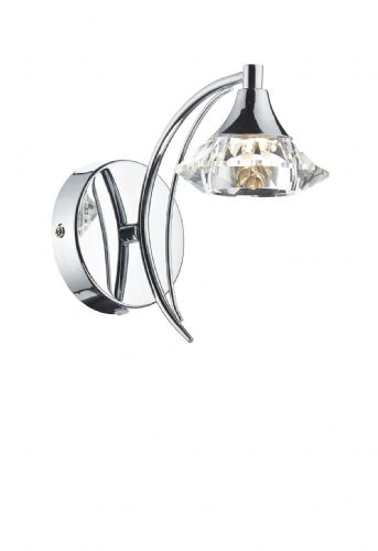 Luther Single Wall Bracket + Crystal Glass Polished Chrome (Double Insulated) BXLUT0750-17